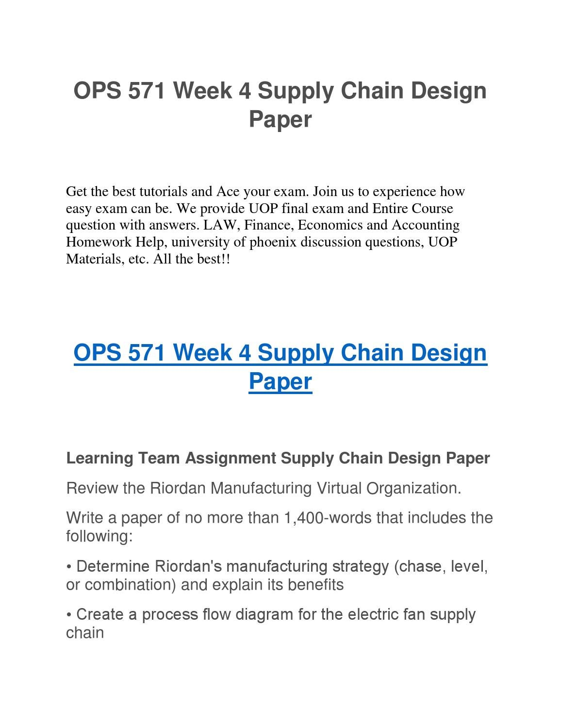 OPS 571 Week 4 Supply Chain Design Paper UOP Assignment Help by UOP  Assignment eHelp - issuu