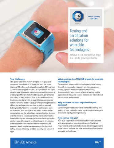 Testing and certification solutions for wearable technologies