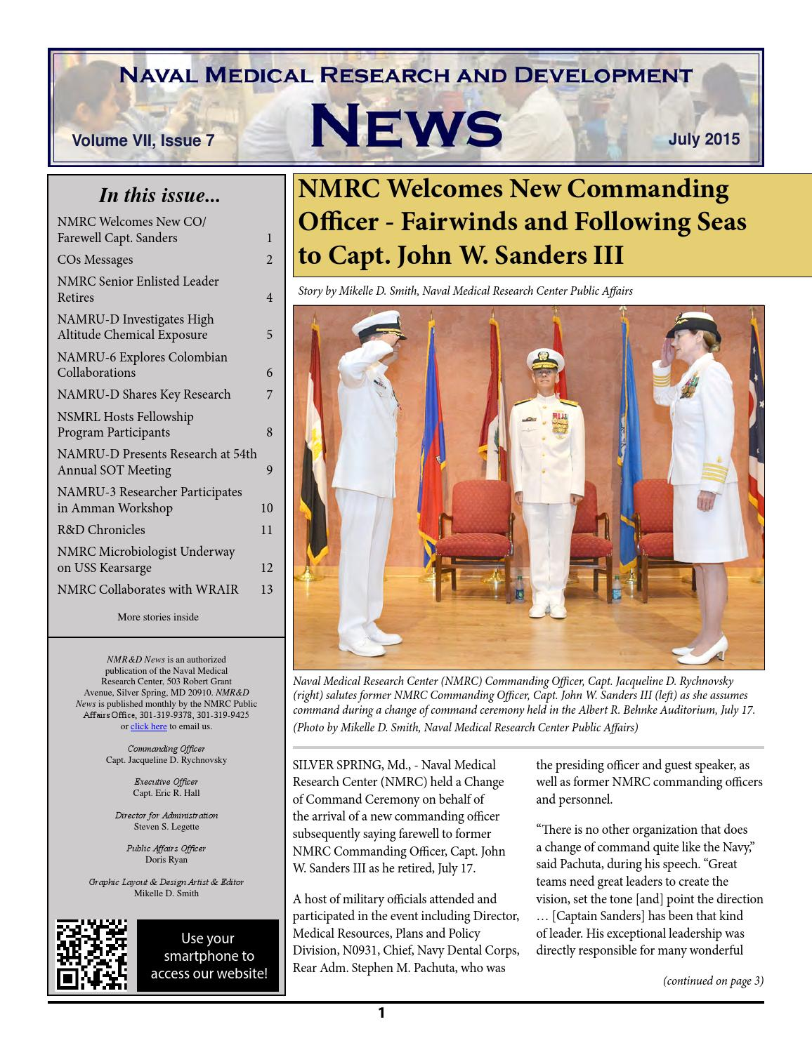 naval medical research center july 2015 newsletter by navy medicine