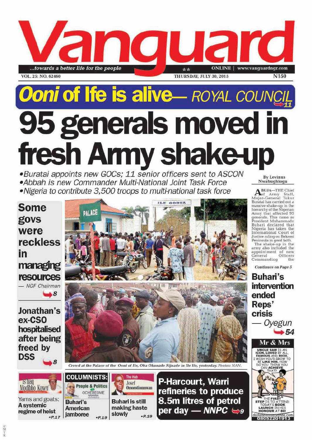 95 generals moved in fresh Army shake up by Vanguard Media