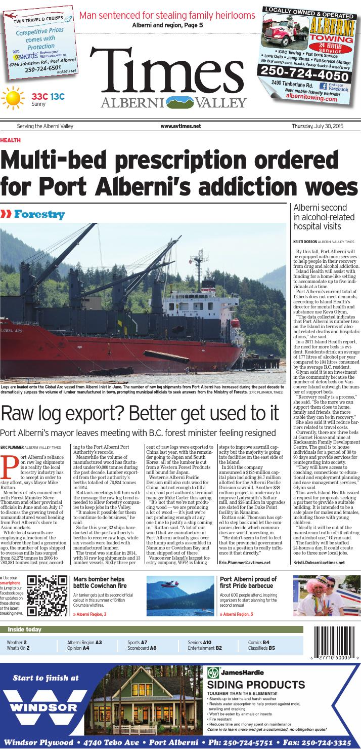 Alberni Valley Times, July 30, 2015 by Black Press Media