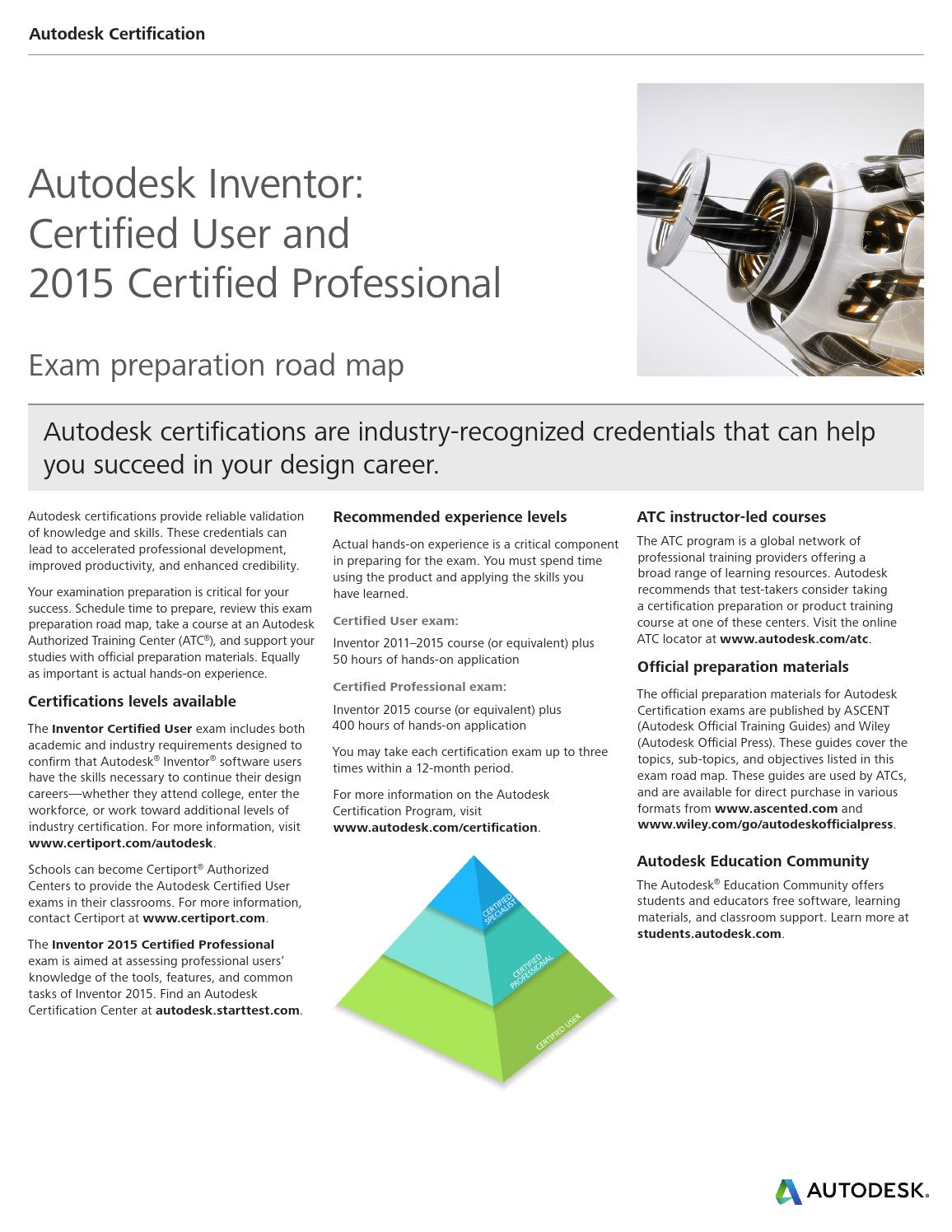 Autodesk Inventor 2015 Certification Roadmap Print By Ciar