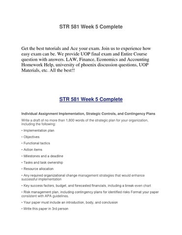 task ownership implementation plan str 581 Str 581 week 5 implementation plan a+ graded tutorial available at: objectives functional tactics action items milestones and a deadline tasks and task ownership resource allocation in every project.