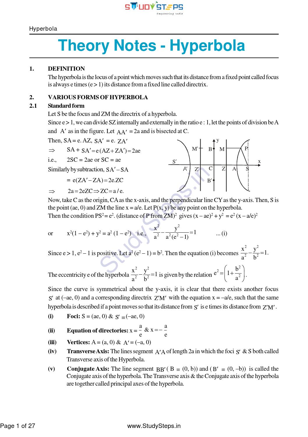 Maths hyperbola notes theory by studysteps issuu falaconquin