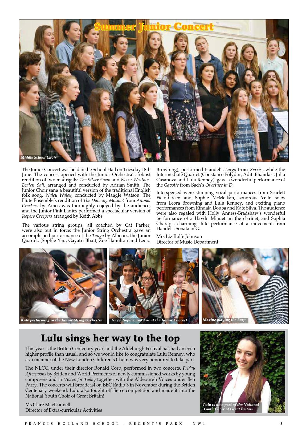Fhs july 2013 newsletter by Francis Holland School Regent's