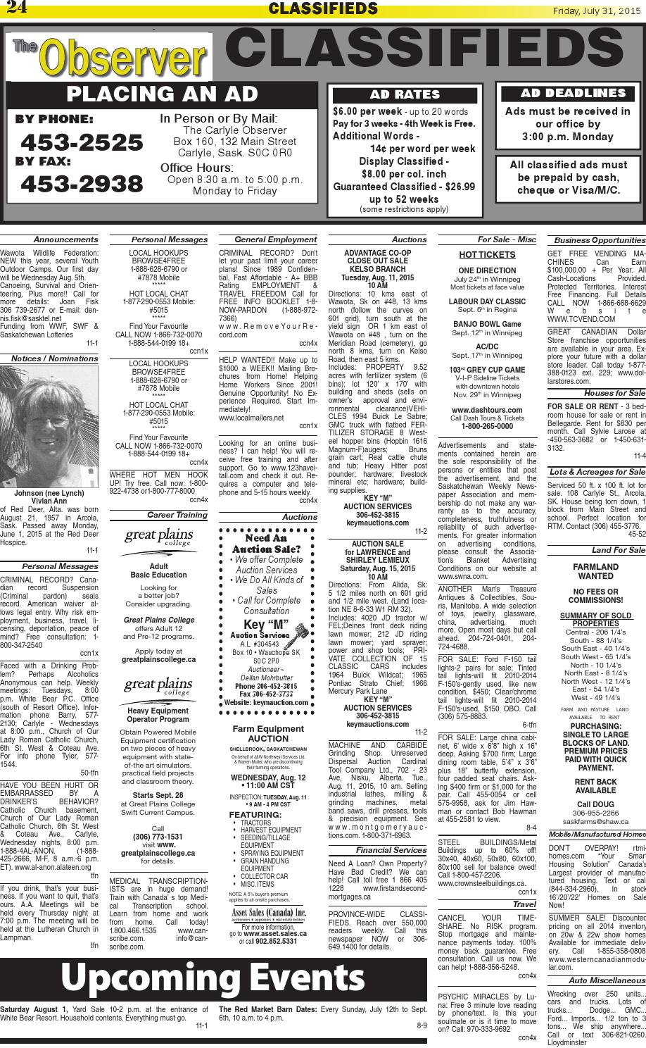 Carlyle Observer Classifieds: July 31, 2015 by Carlyle
