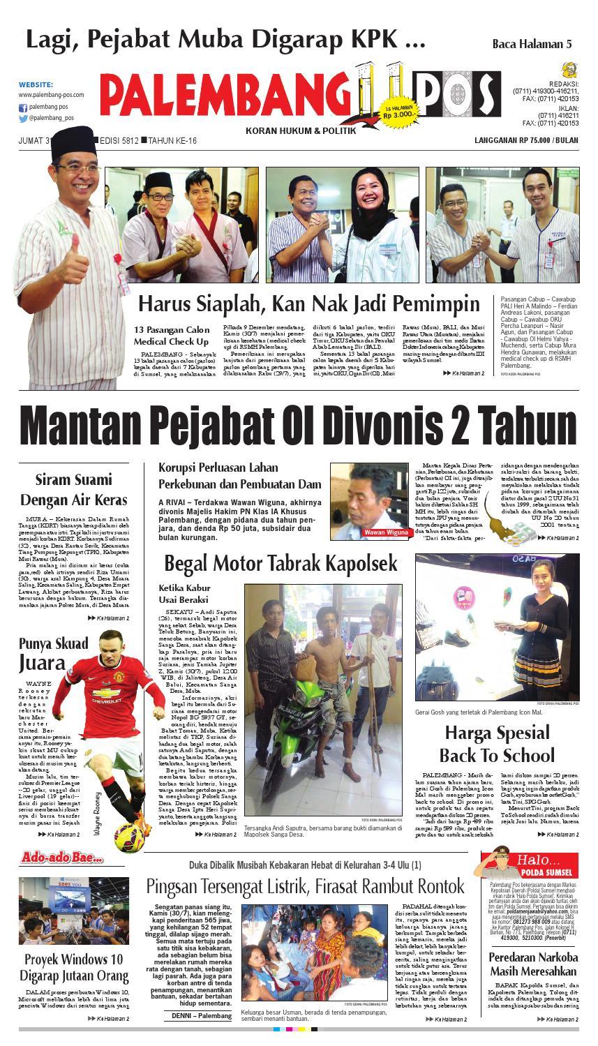 Palembang Pos Edisi Jumat 31 Juli 2015 By Issuu Jaket Motor Tahan Angin Romero