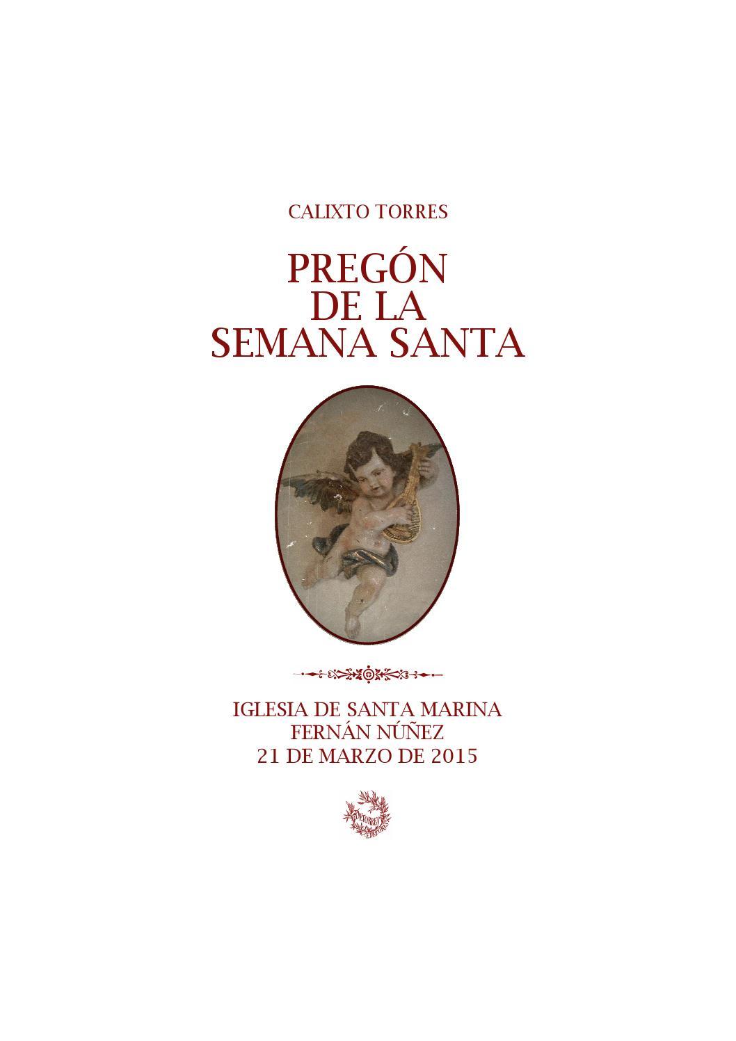 Pregon De La Semana Santa De Fernan Nunez 2015 Calixto Torres By