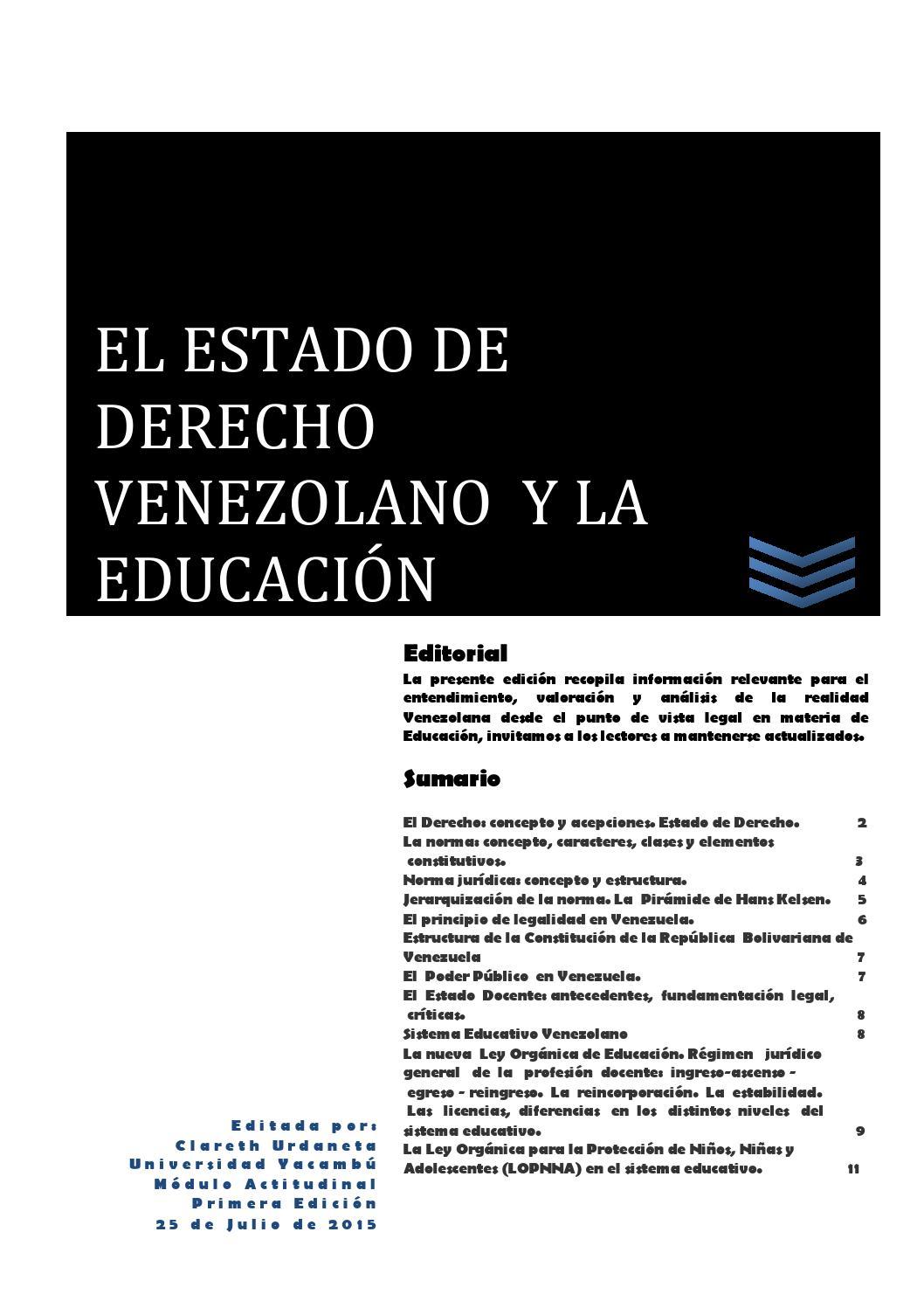 El Estado De Derecho Venezolano Y La Educación By Clareth
