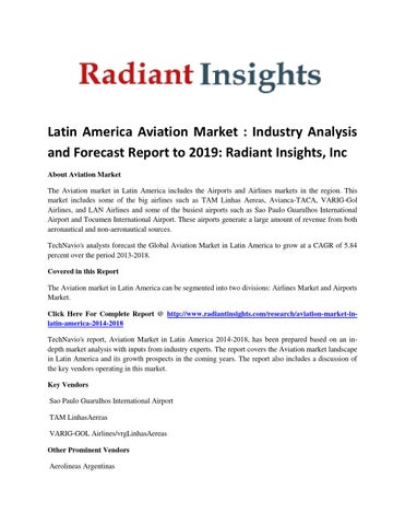 Latin America Aviation Market Report To 2019: Latest Report