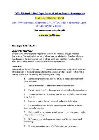 Com  Week  Final Paper Letter Of Advice Paper AshcomDotcom