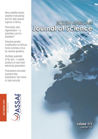 South African Journal Of Science Volume 111 Issue 78 By South
