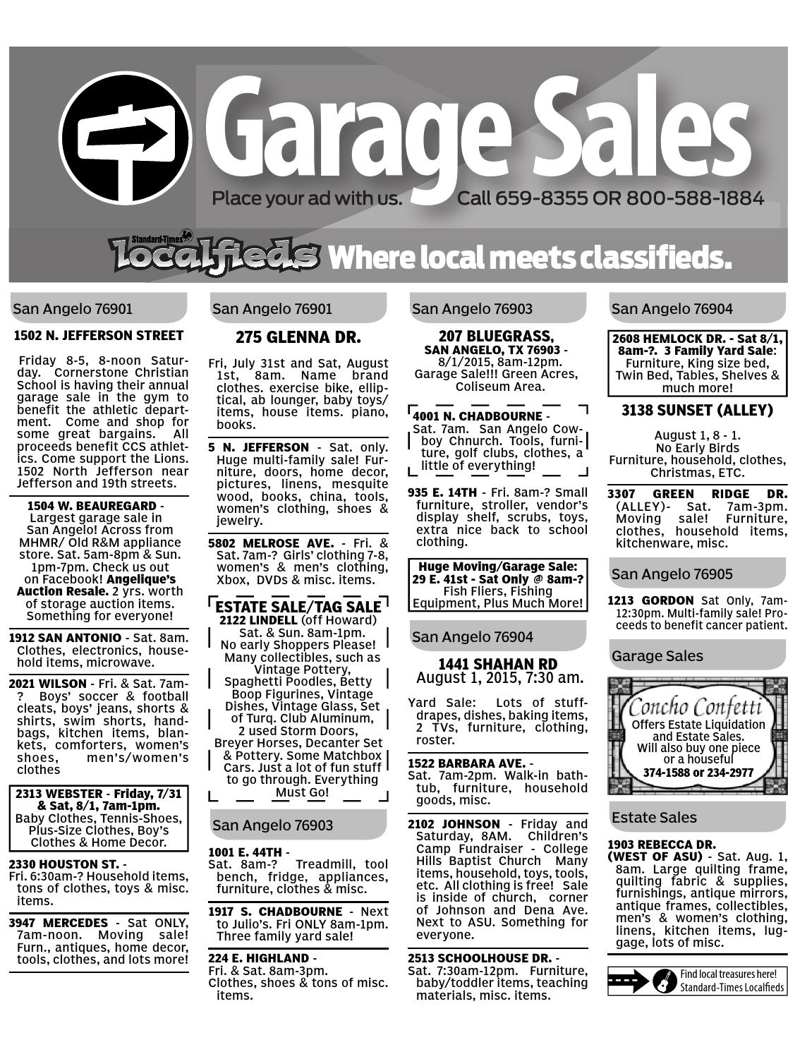August 31 2015 Garage Sales For San Angelo Texas By Penny Sue