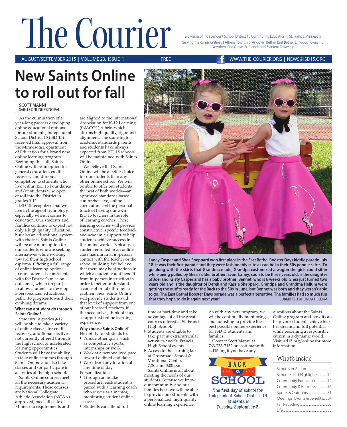 6e50d61f The Courier - August/September 2015 by St. Francis Area Schools - issuu