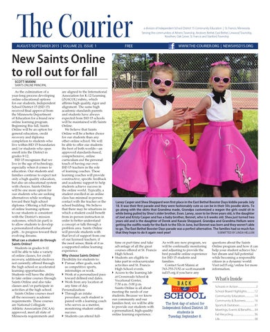 ec59bc446f3 The Courier - August September 2015 by St. Francis Area Schools - issuu