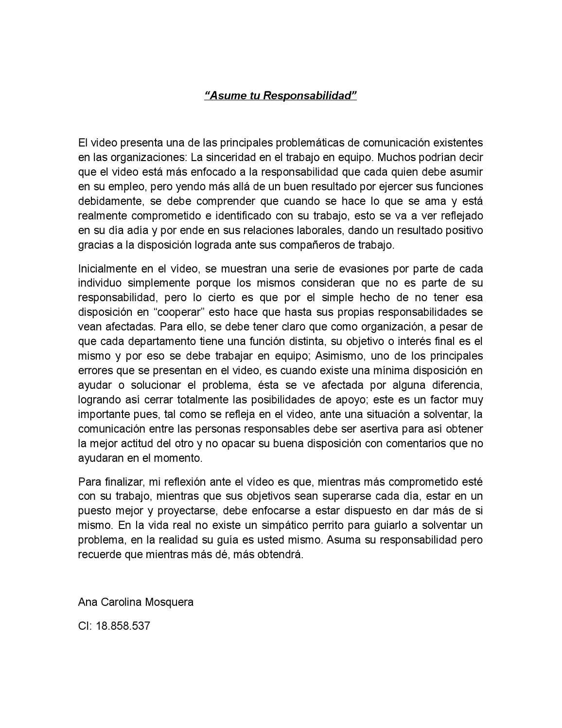 Asume tu responsabilidad by Ana Carolina Mosquera - issuu