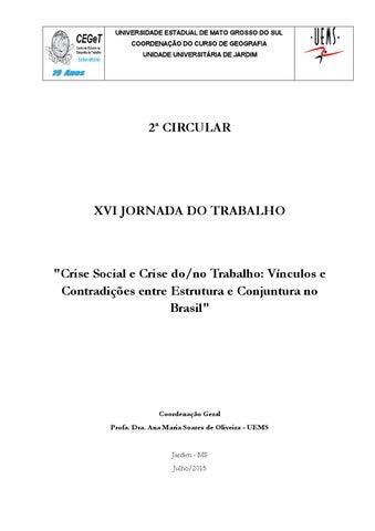 c6823a3ce1d 2ª Circular XVI Jornada do Trabalho 4-7 outubro 2015. Jardim (MS)