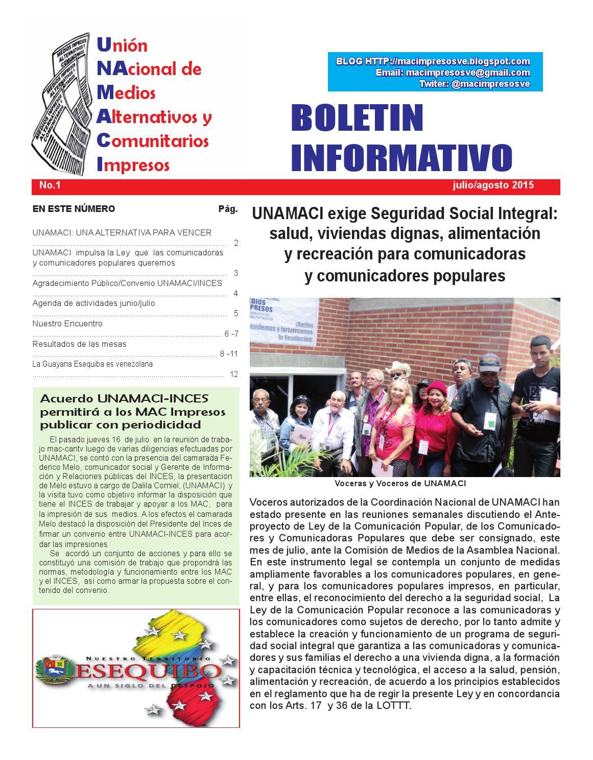 Boletin Unamaci N 01 By Medios Impresos Alternativos Y