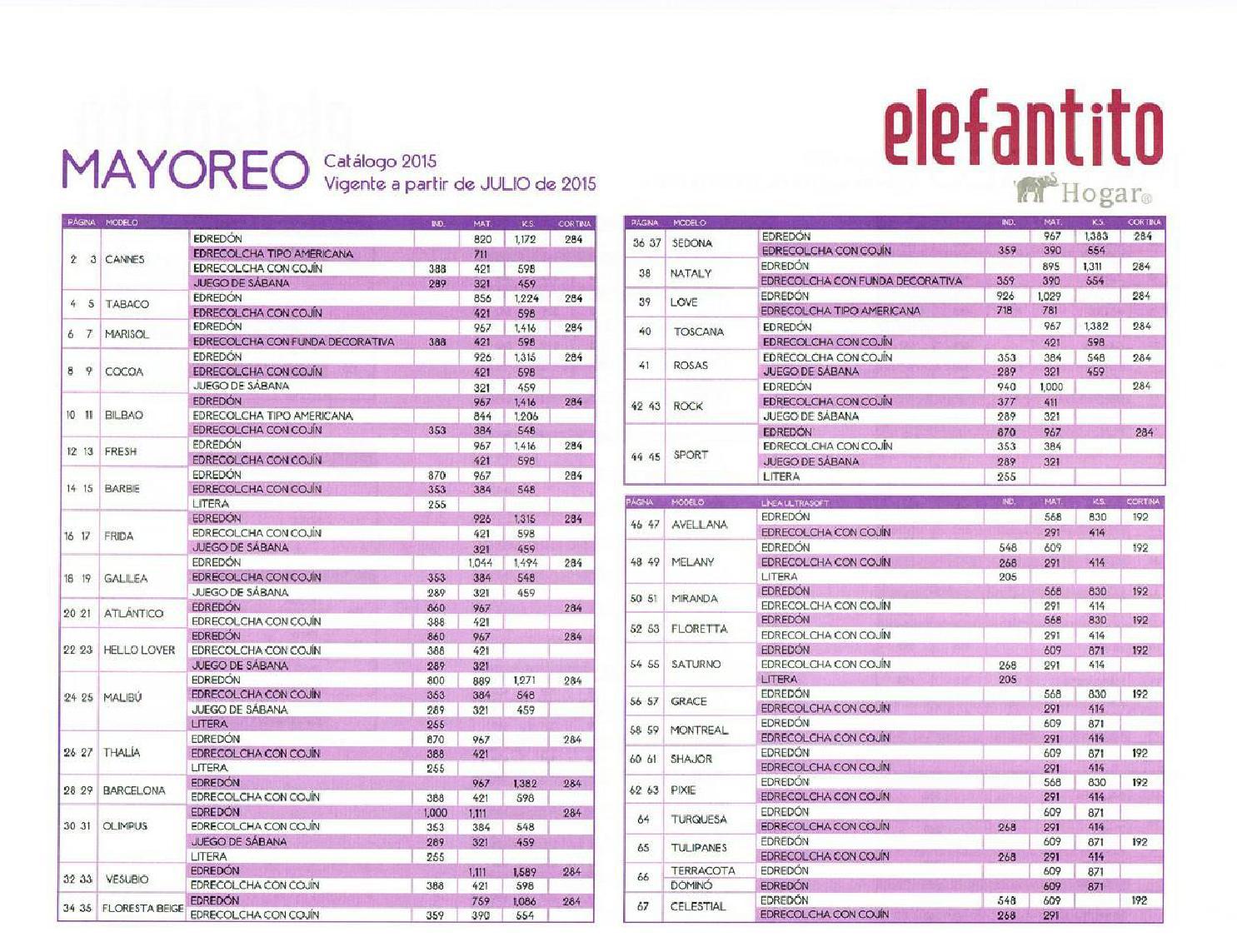 Catalogo precios colchas elefantito 2015 2016 by www for Catalogos sofas precios