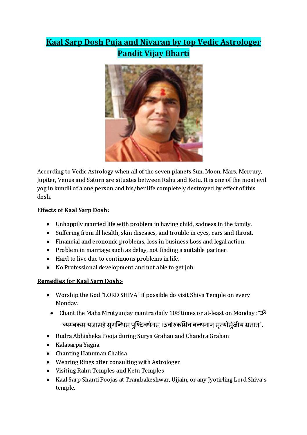 Kaal Sarp Dosh Puja and Nivaran by top Vedic Astrologer