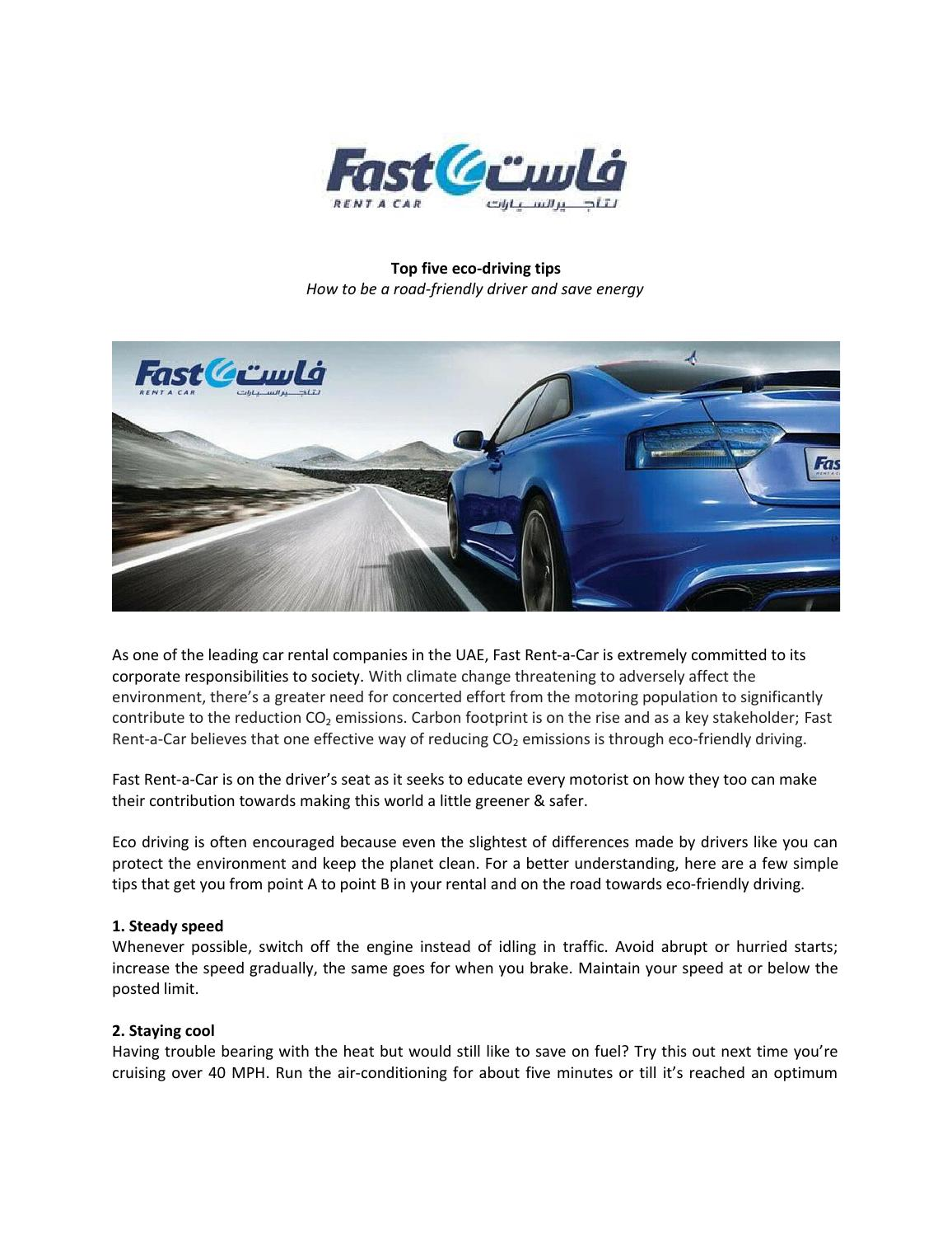 Fast Rent A Car Top Five Eco Driving Tips By Matrix Pr Issuu