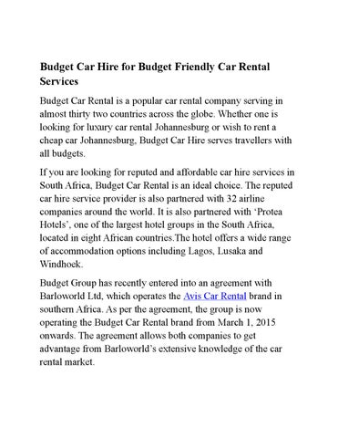 Budget Car Hire For Budget Friendly Car Rental Services By