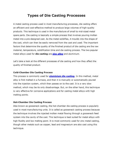 Types of die casting processes by Dynacast - issuu