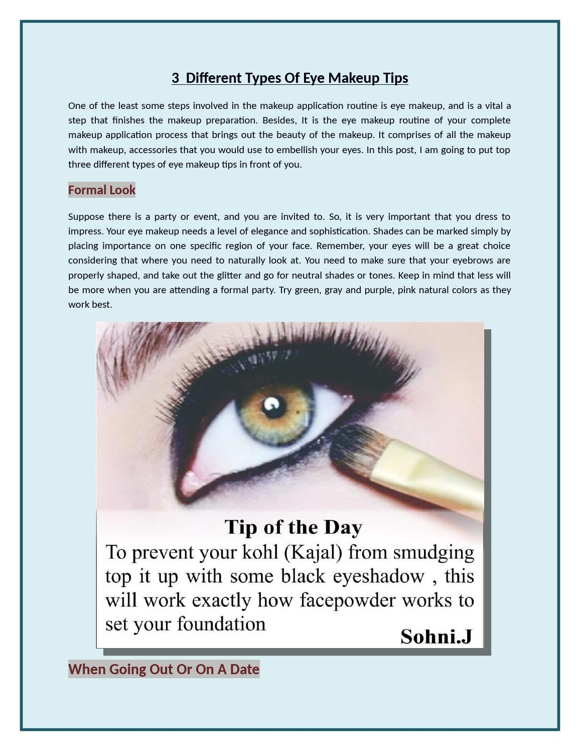 3 Different Types Of Eye Makeup Tips By Sonal Bishit Issuu
