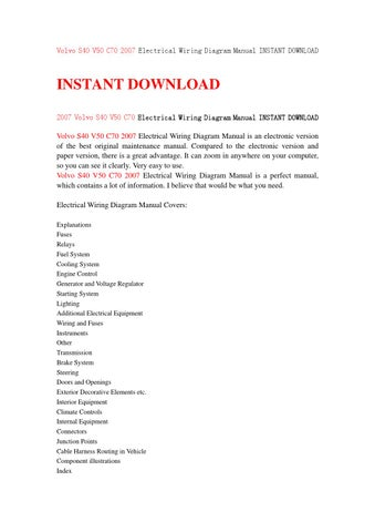 volvo s40 v50 c70 2007 electrical wiring diagram manual instant download