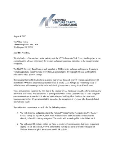 Nvca White House Demo Day Commitment Letter By Bay Area News Group