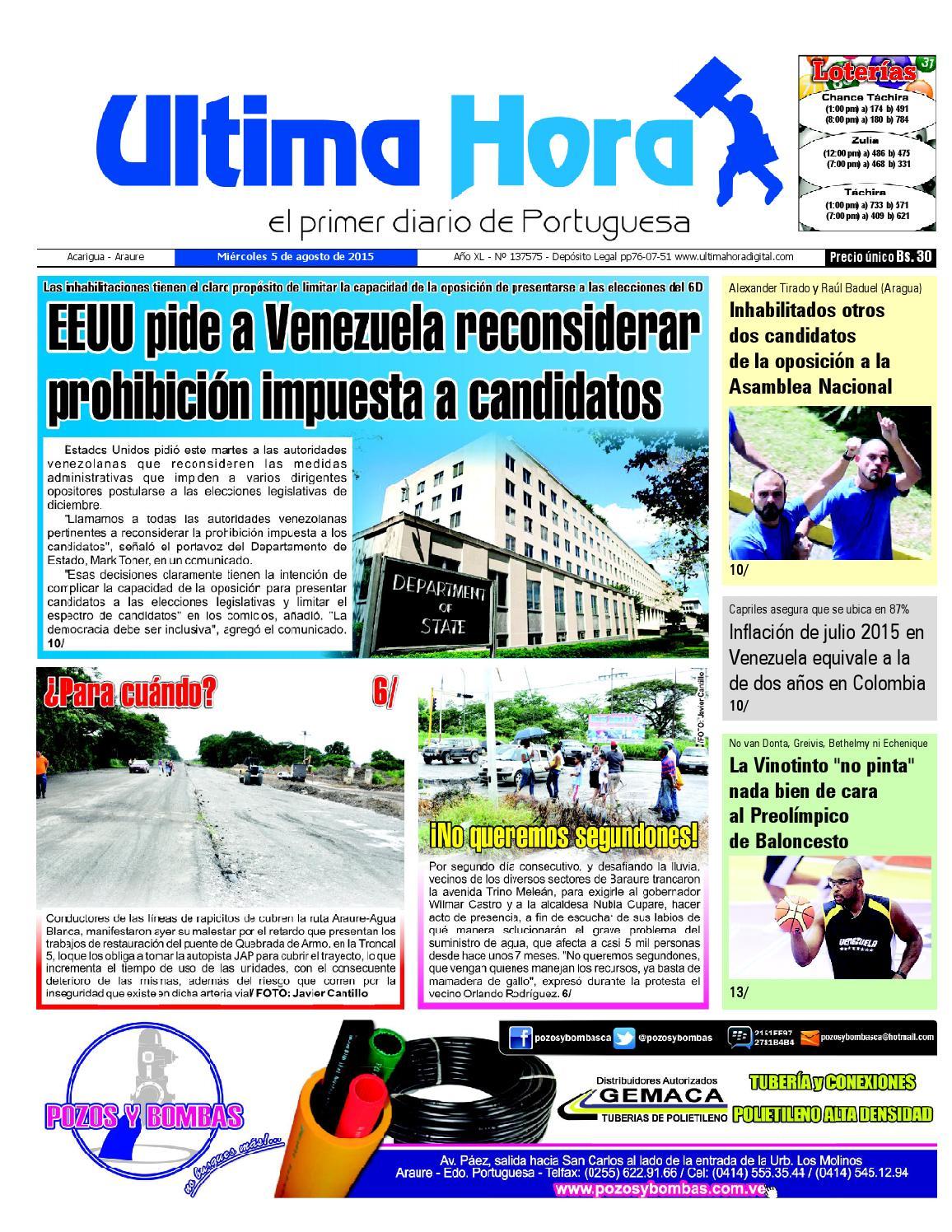Edicion05 08 2015 by Ultima Hora - El primer diario de Portuguesa ...