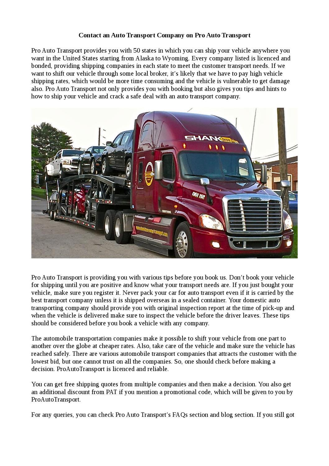 Auto Transport Quotes Contact An Auto Transport Company On Pro Auto Transportpro