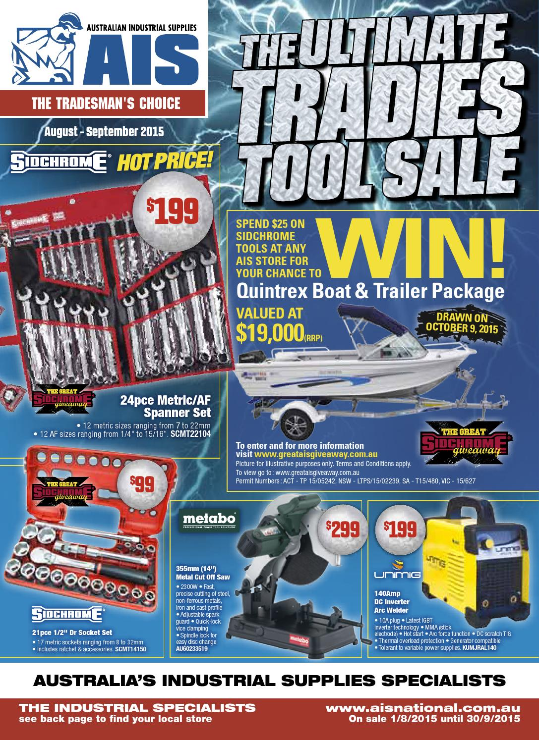 Ais Ultimate Tradies Tool Sale Aug Sep 2015 Catalogue Country Suoer 2 In 1 Inverter Charger 500 Watt Typer Saa 500w C Version By Australian Industrial Supplies Ltd Issuu