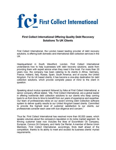 first collect international offering quality debt recovery solutions