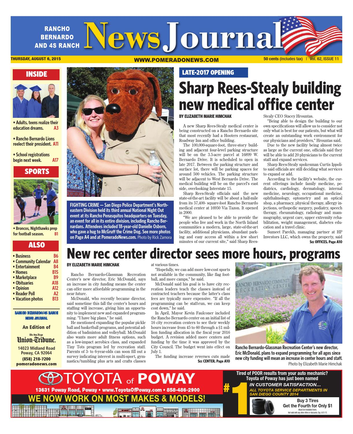 Rancho bernardo news journal 08 06 15 by MainStreet Media