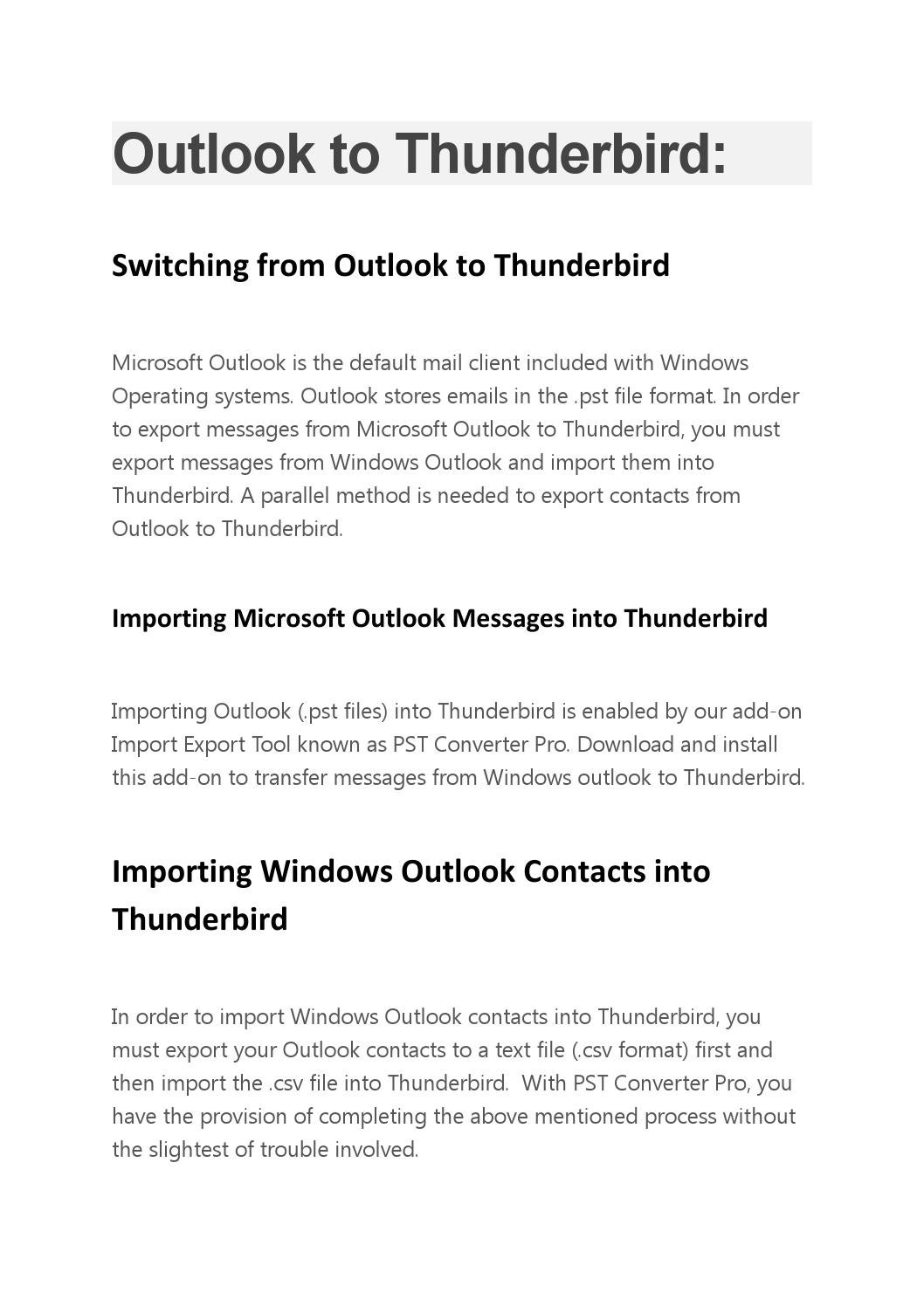 Export Windows Outlook to Thunderbird with Pst Converter Pro