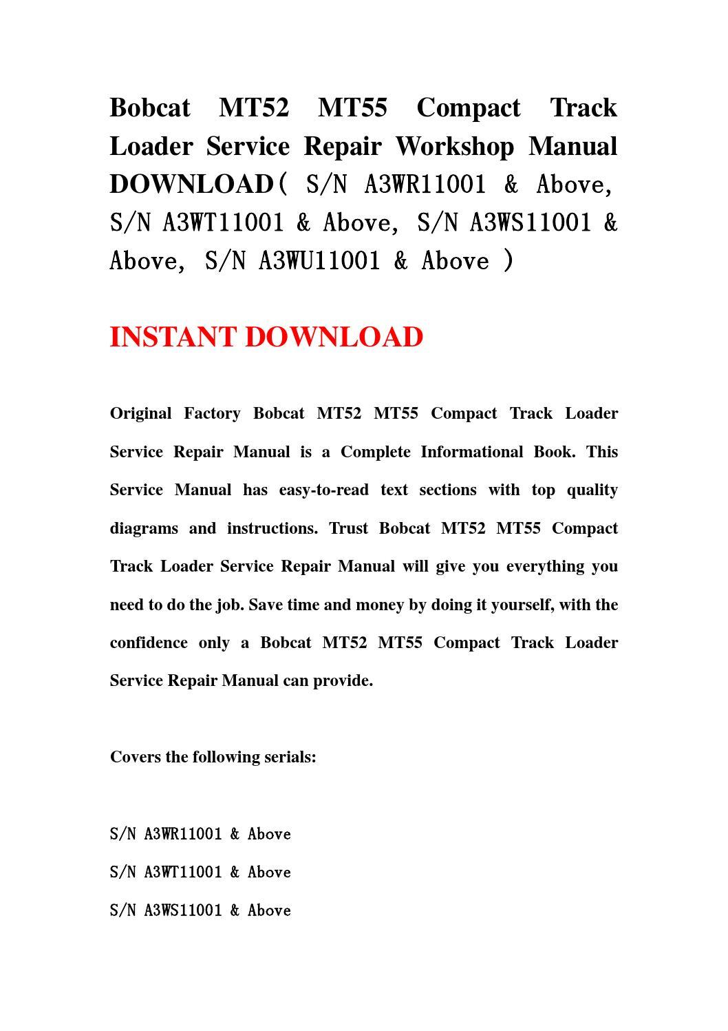 bobcat mt52 service manual pdf