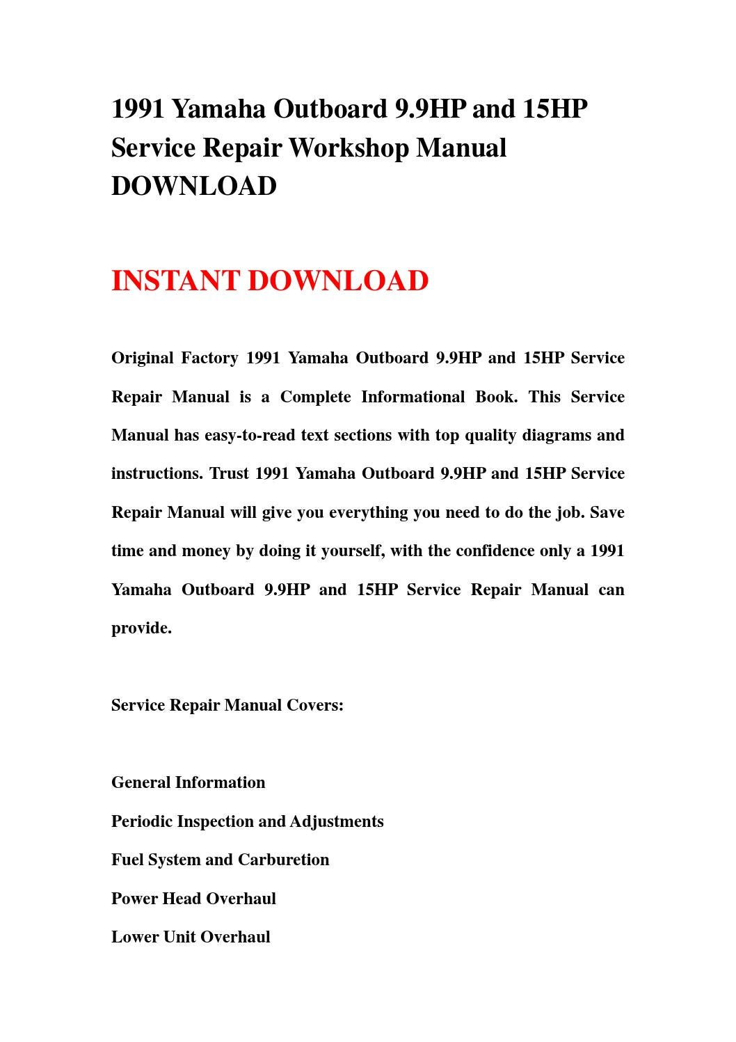 1991 Yamaha Outboard 9 9hp And 15hp Service Repair Workshop Manual Download By Jsefnsen67
