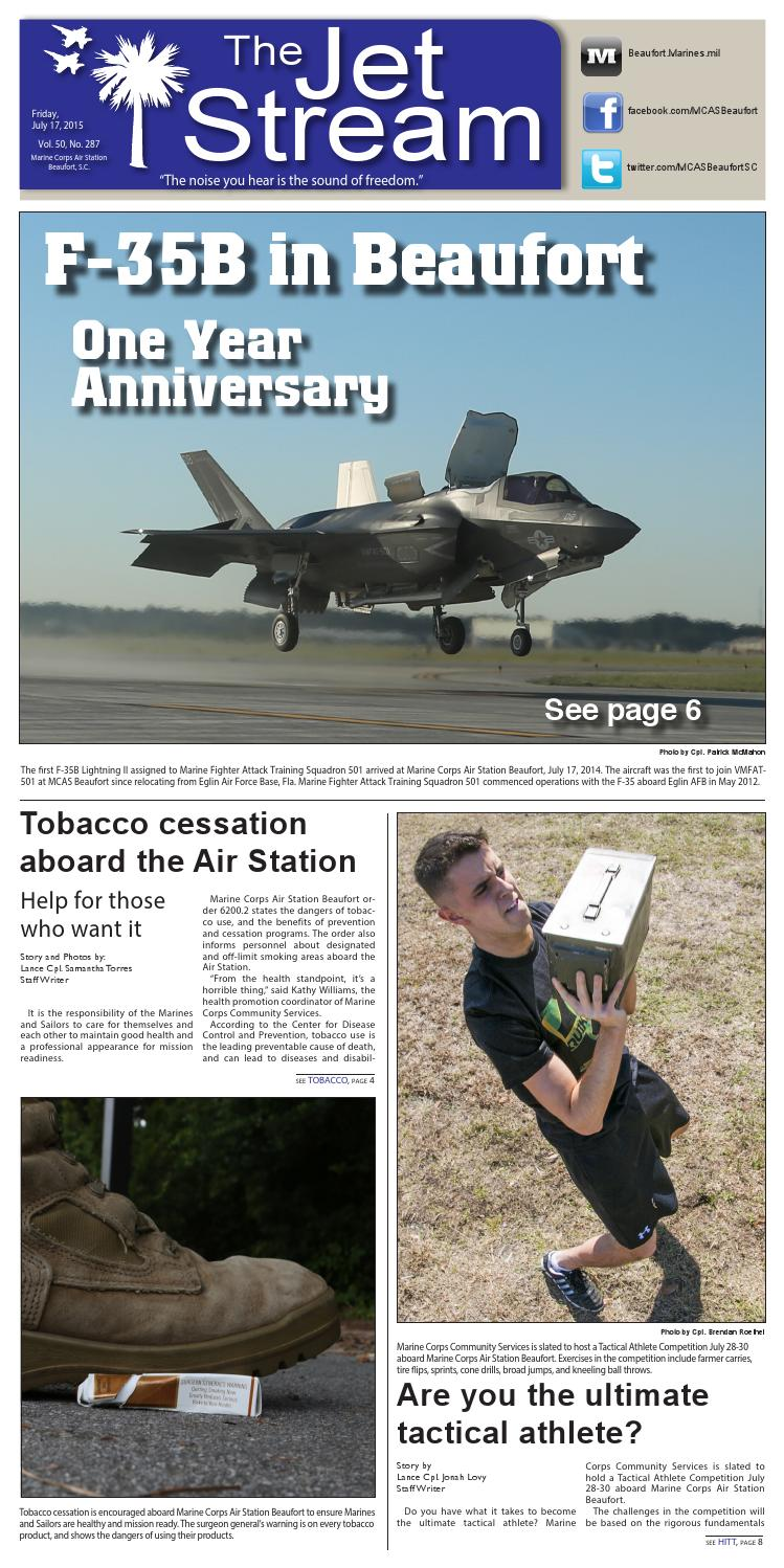 7bb346e19 The Jet Stream - July 17, 2015. The F-35 one year anniversary in Beaufort,  Tobacco cessation aboard the Air Station ...