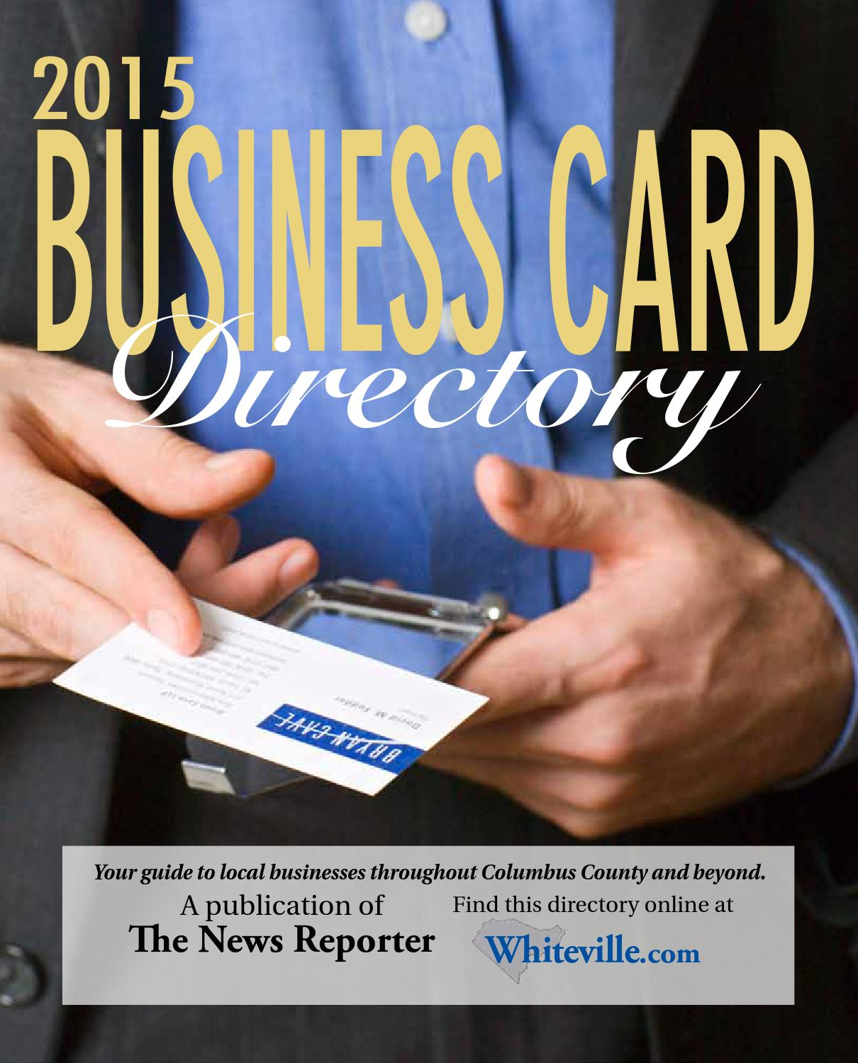 Business Card Directory 2015 by The News Reporter - issuu