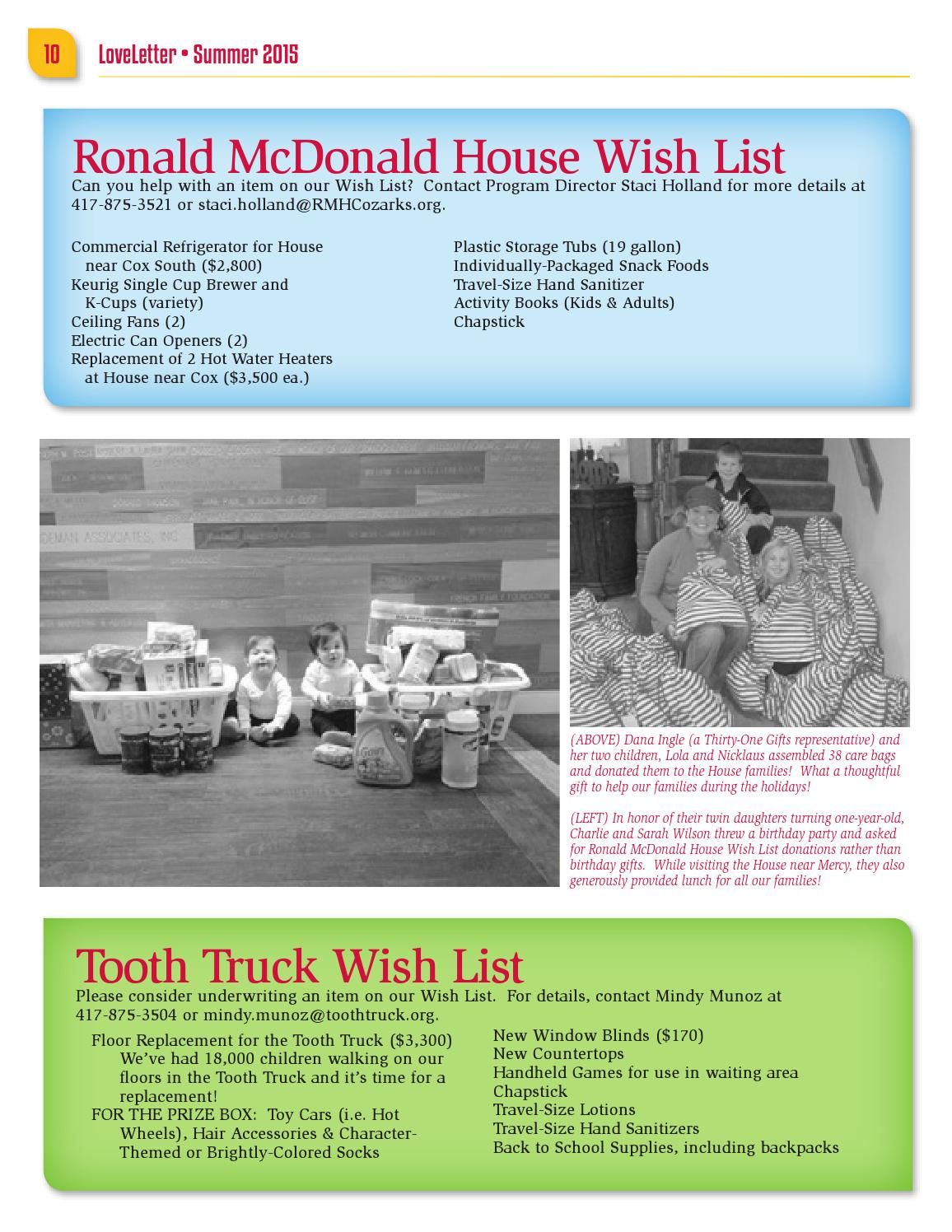LOVE LETTER Newsletter By RMHC Of The Ozarks Inc