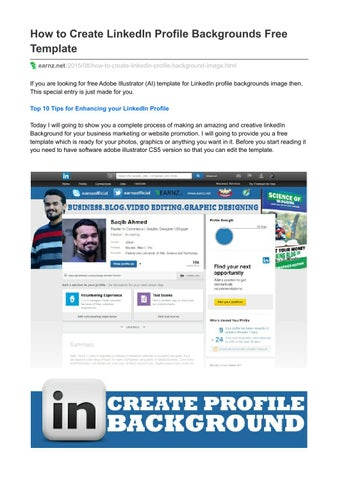 How To Create Linkedin Profile Backgrounds Free Template By