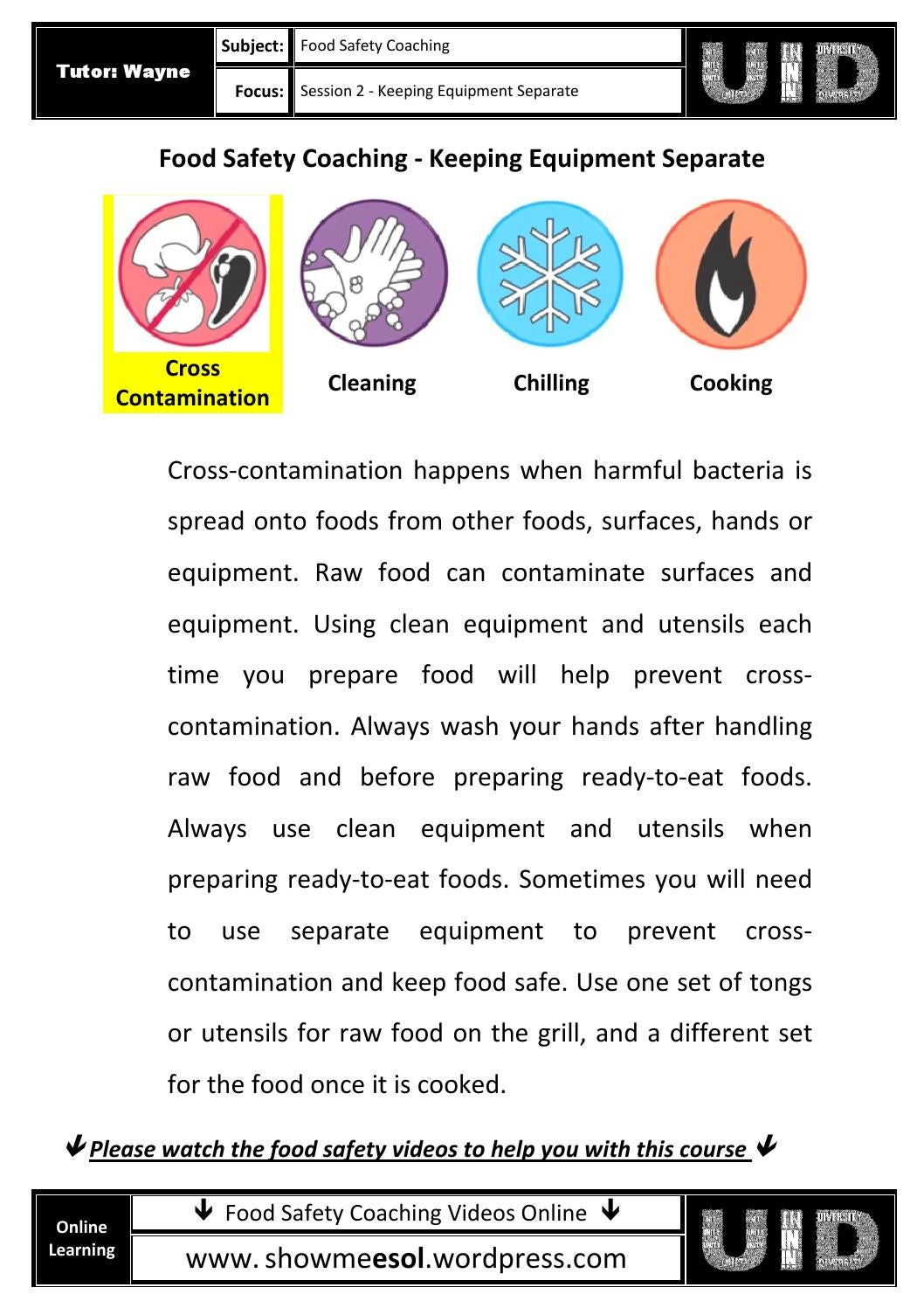 02 Worksheets Food Safety Coaching Keeping Equipment
