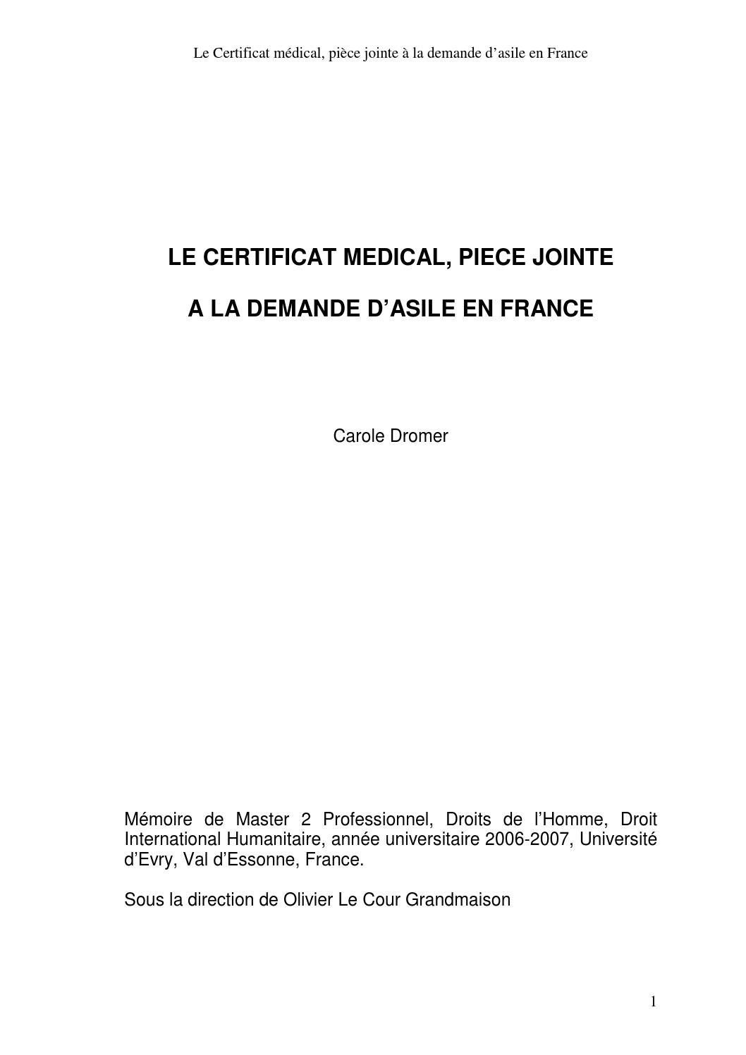 le certificat medical   pi u00e8ce jointe  u00e0 la demande d u0026 39 asile en france by m u00e9decins du monde