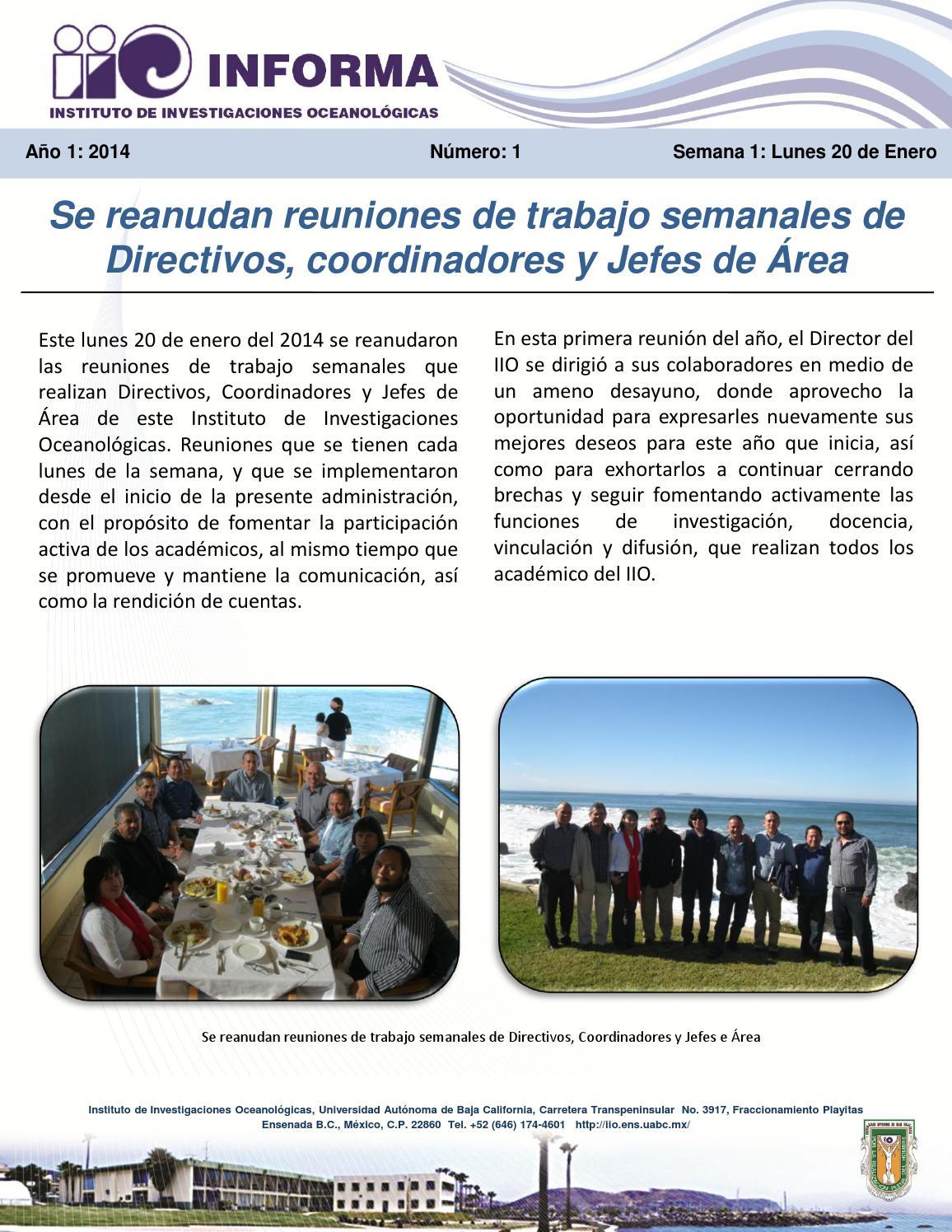 IIO Informa 2014 by Instituto de Investigaciones Oceanologicas - issuu