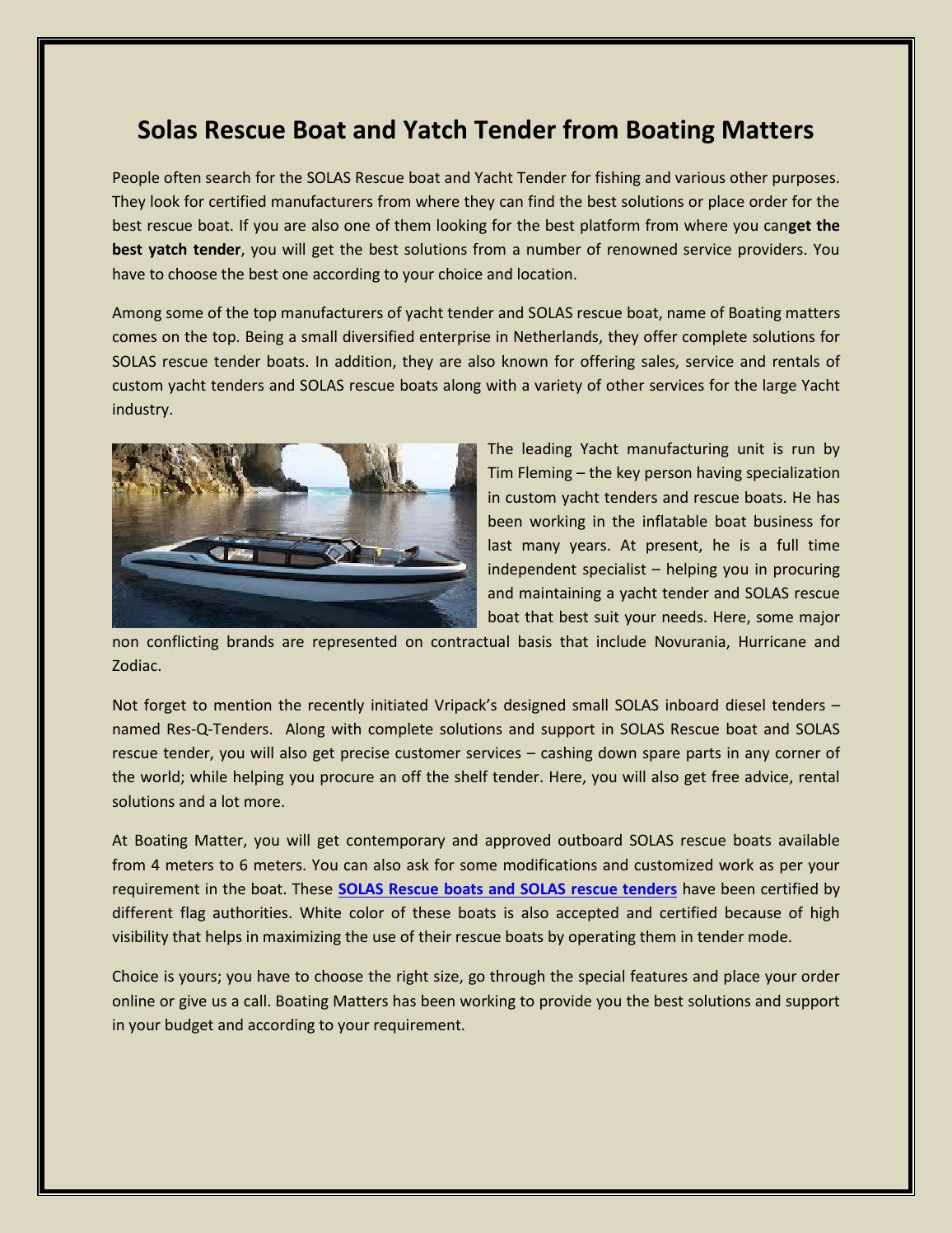 Solas Rescue Boat and Yatch Tender by Boating Matters - issuu
