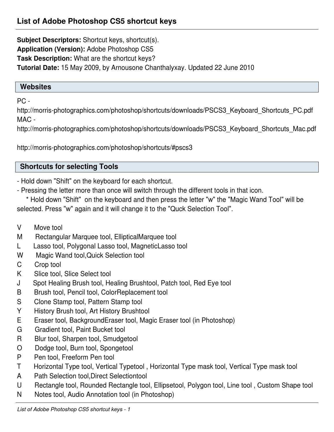 photoshop shortcut keys list in pdf