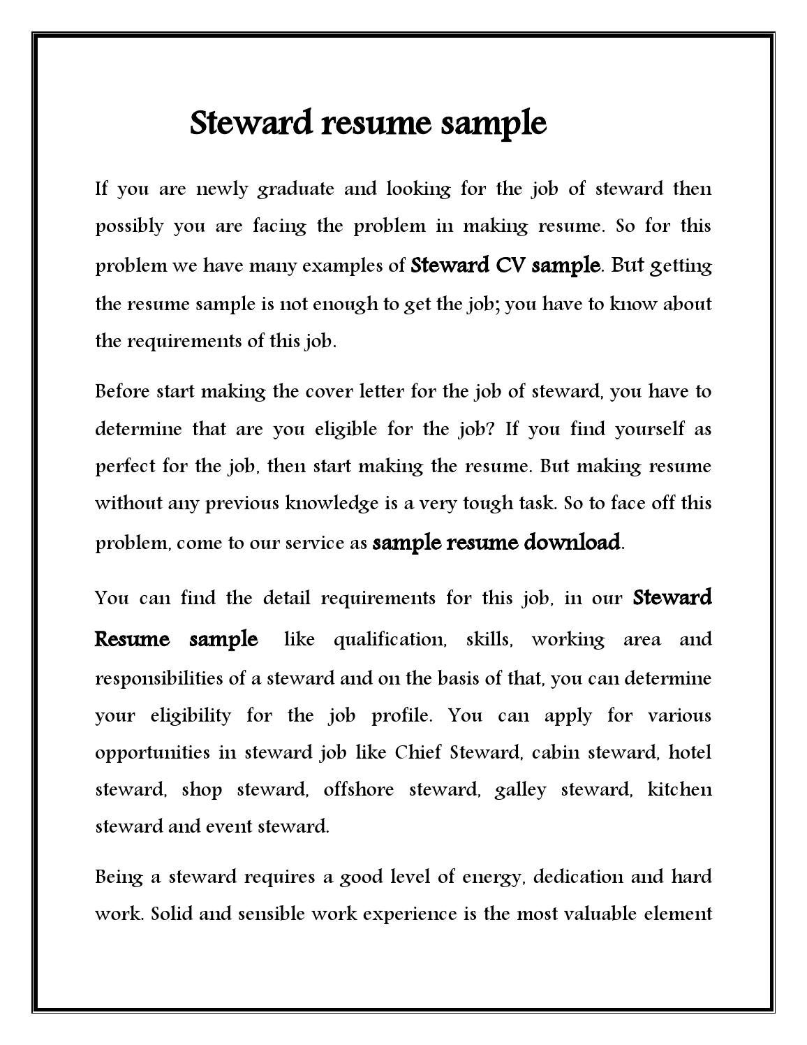 Steward cv sample for hotel stewerd job by for How to start a covering letter for a cv