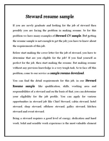 Steward Resume Sample If You Are Newly Graduate And Looking For The Job Of  Steward Then Possibly You Are Facing The Problem In Making Resume.