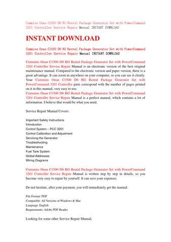 cummins onan c1500 d6 rg rental package generator set with rh issuu com 5.9 Cummins Manual Cummins Engine Manual